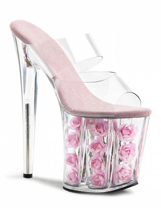 Antique Design Peep Toe PVC Upper Sexy Sexy Mules