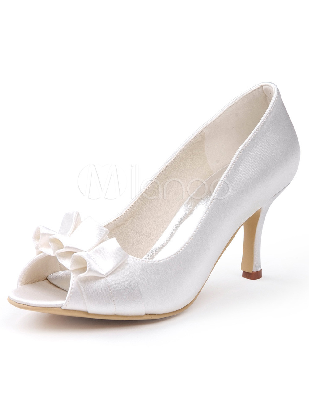White Crochet Peep Toe Silk And Satin Grace Woman's Evening Shoes