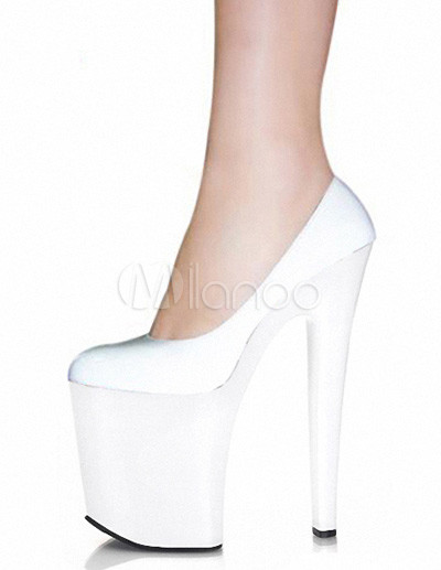 Gorgeous PU Leather Patent Round Toe Sexy Pumps For Woman