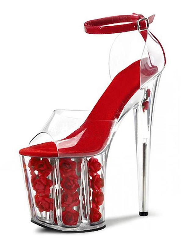 Red Peep Toe Sky High Platform Sandals Flowers Roses PU Heels