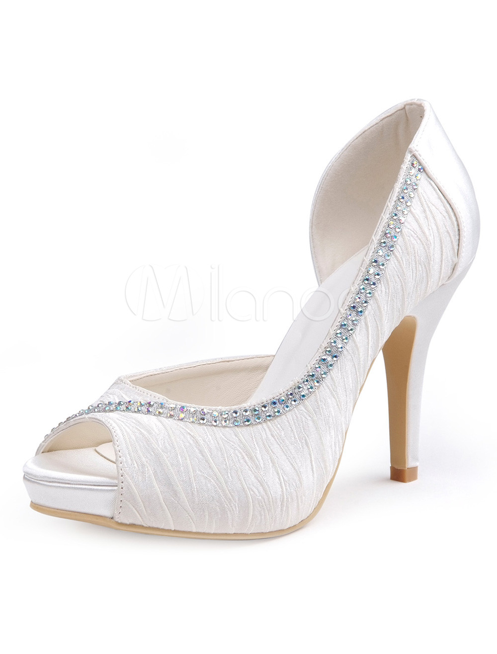 Buy Gorgeous White Silk And Satin Rhinestone Peep Toe Woman's Evening Shoes for $71.24 in Milanoo store