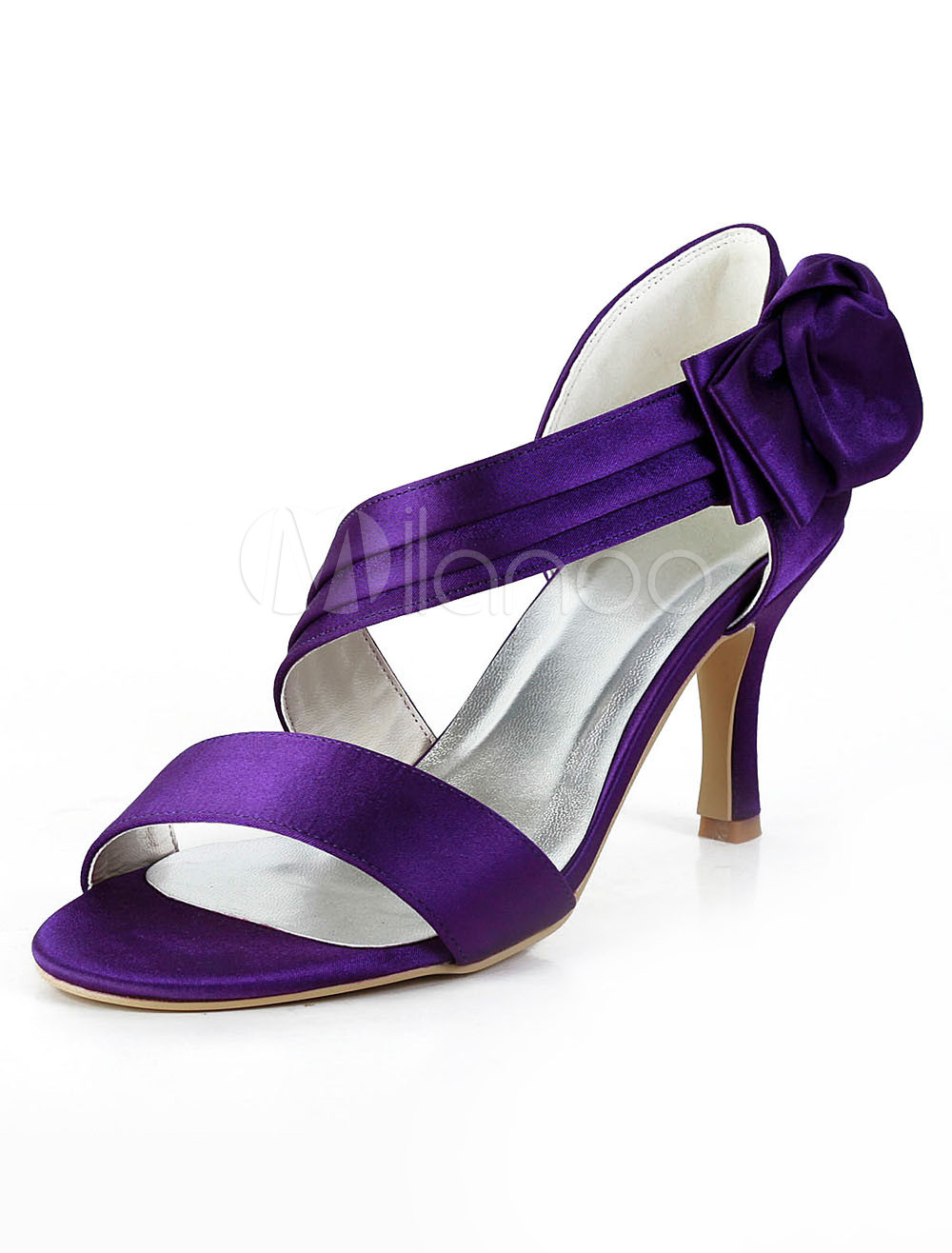 Buy Purple Bow Open Toe Silk And Satin Grace Woman's Evening Shoes for $62.09 in Milanoo store