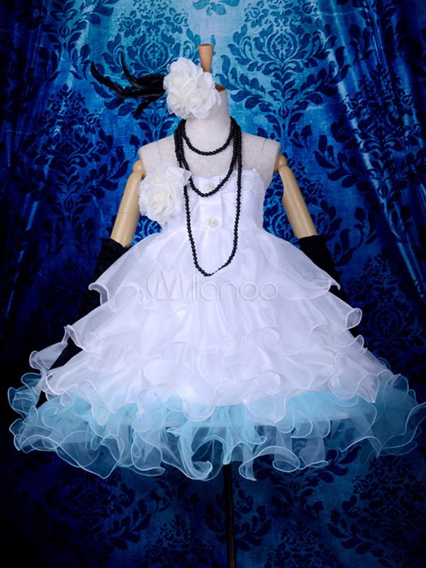 Vocaloid Hatsune Miku Halloween Cosplay Costume White Formal Dress Halloween