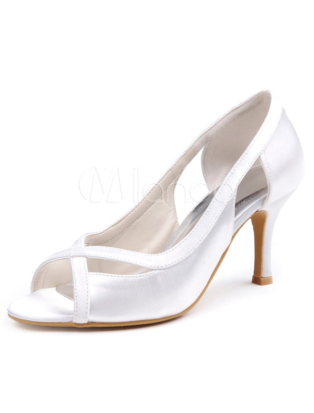 Soie blanche et Satin découpe chaussures de soirée de la femme de Peep Toe