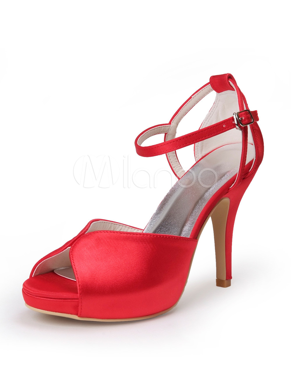 Buy Elegant Red Silk And Satin Peep Toe Woman's Evening Shoes for $55.09 in Milanoo store