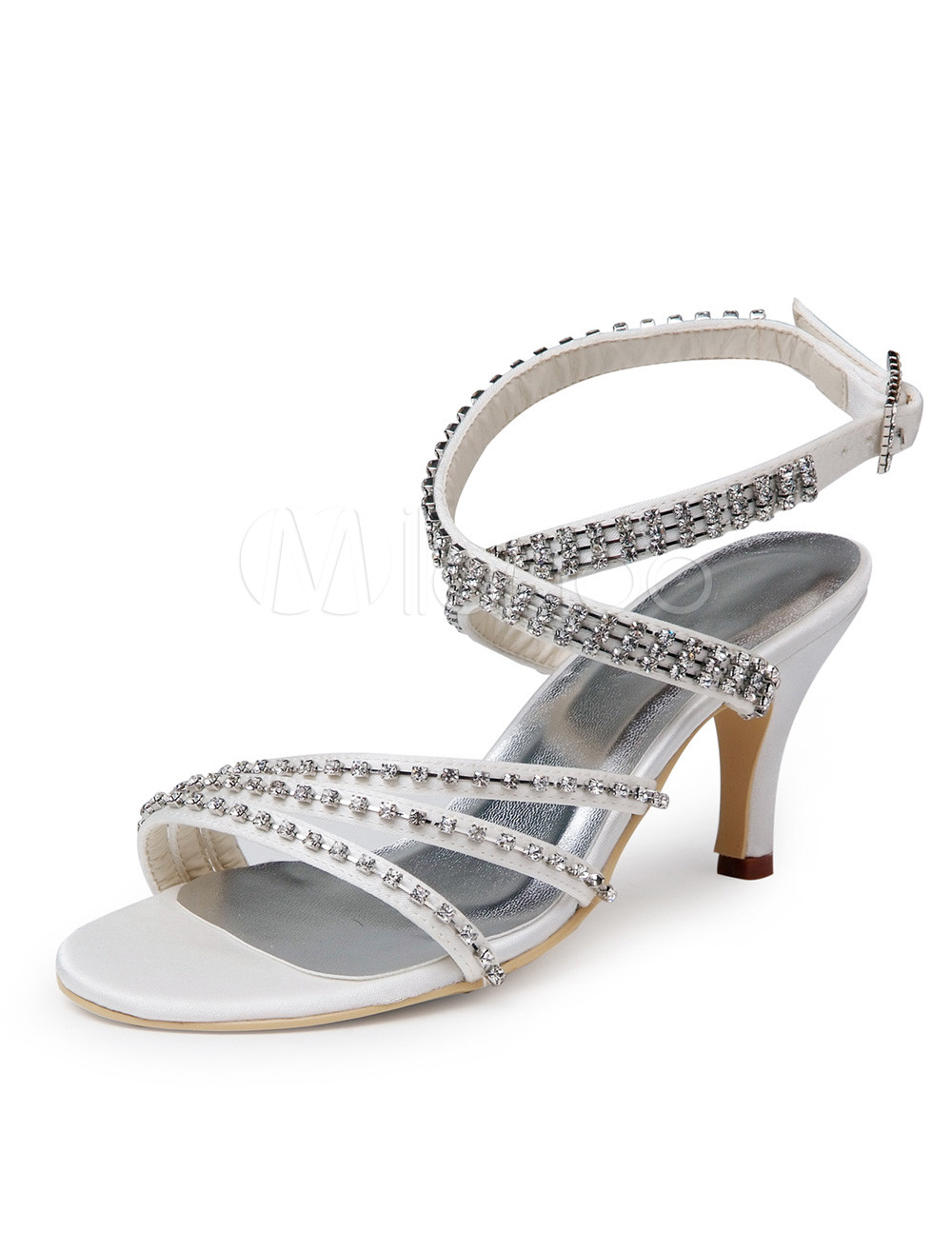 Buy Elegant Ecru White Silk And Satin Rhinestone Peep Toe Shoes for Bride for $62.99 in Milanoo store