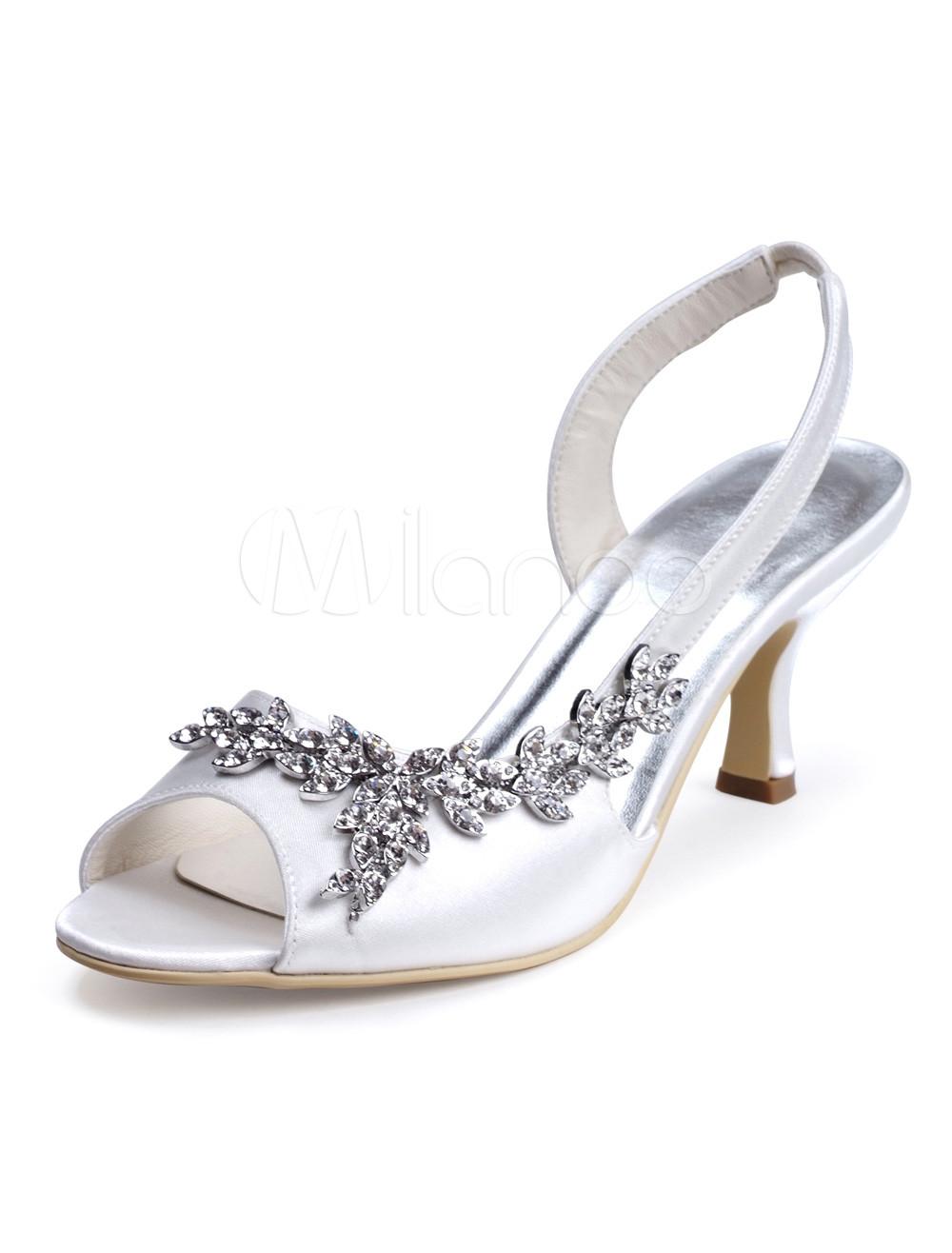 Sexy strass blanc écru talon aiguille soie et Satin robe sandales