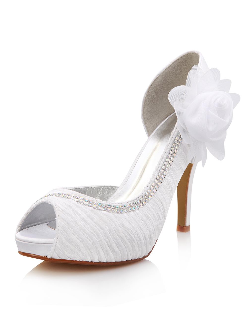 Zapatos blancos de novia de seda sintética con flor de estilo gastado YOJhy
