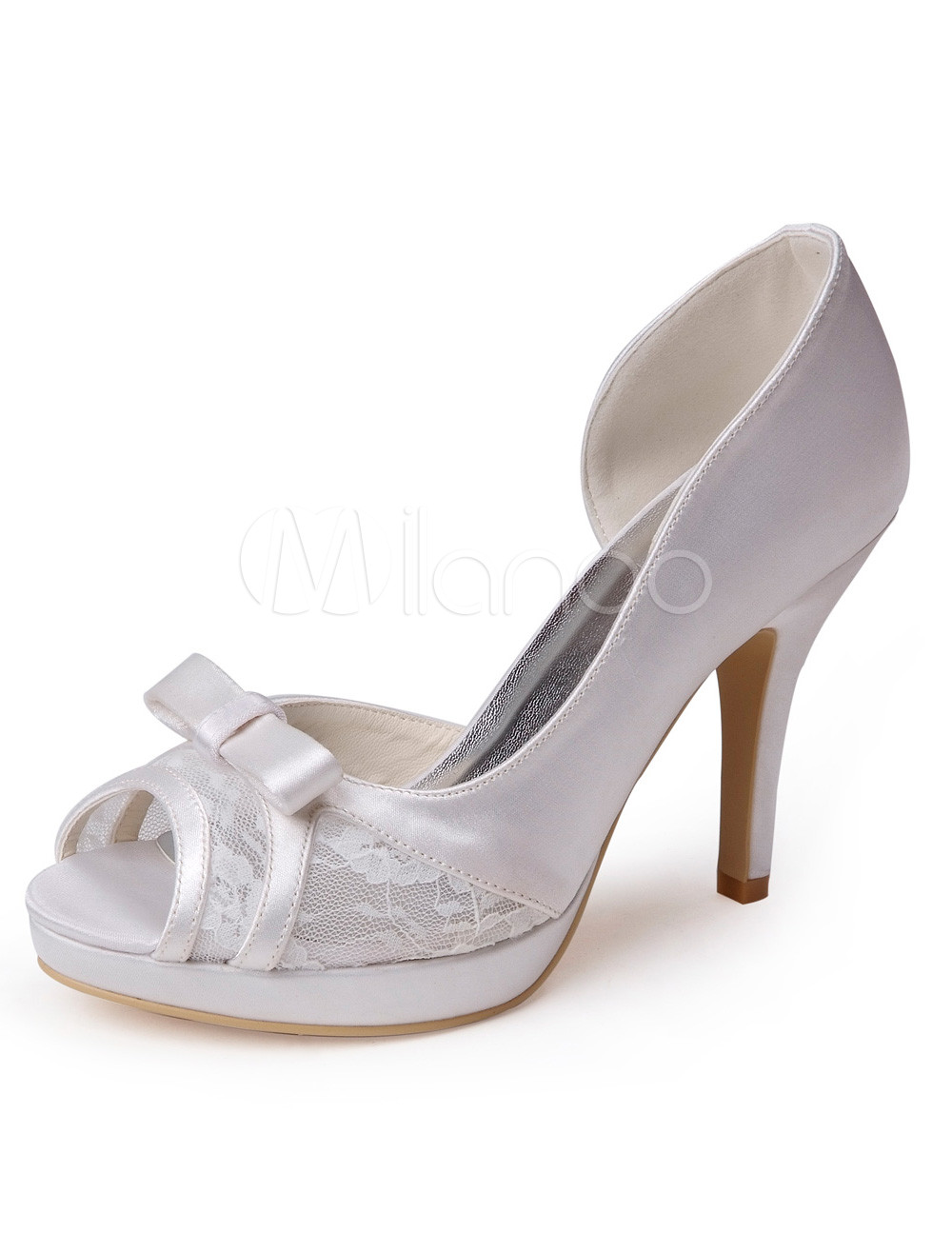 Buy Ecru White Bow Silk And Satin Fashion Women's Peep Toe Shoes for $58.49 in Milanoo store