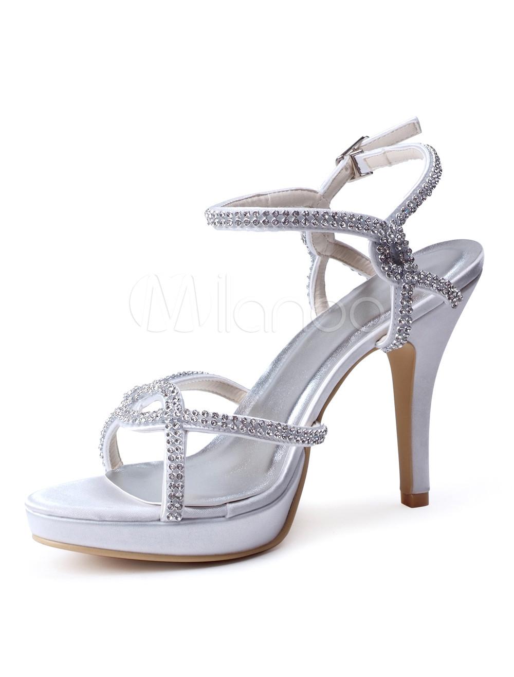 Buy Sexy Ecru White Rhinestone Stiletto Heel Silk And Satin Dress Sandals for $57.95 in Milanoo store