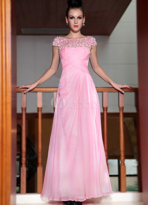 Vestido de noche de gasa de Rubor rosado de manga corta - Milanoo.com