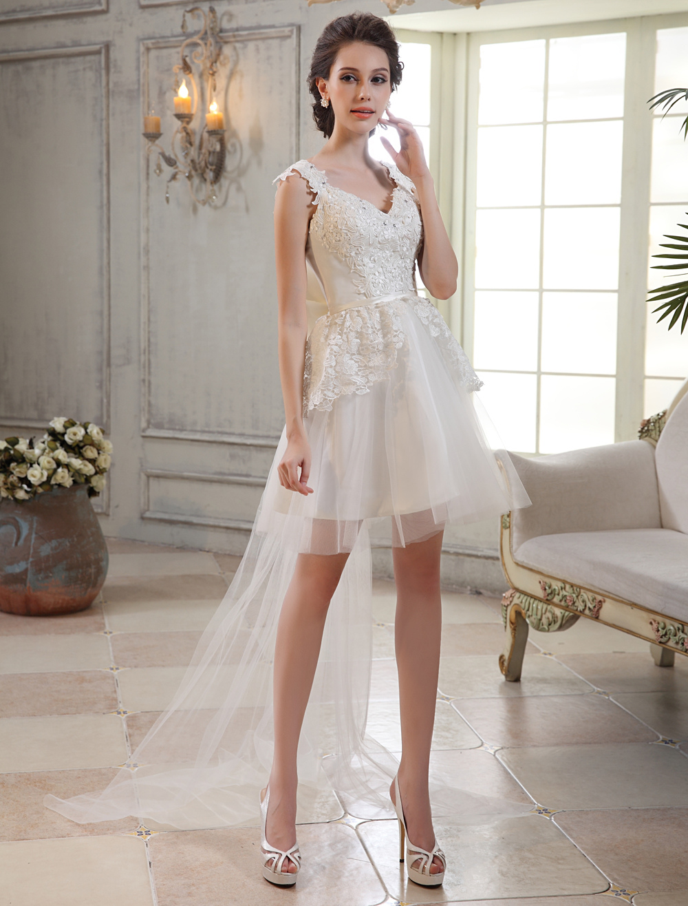 Chic Ivory Lace V-Neck Sleeveless A-line Tulle Bridal Wedding Gown  Milanoo