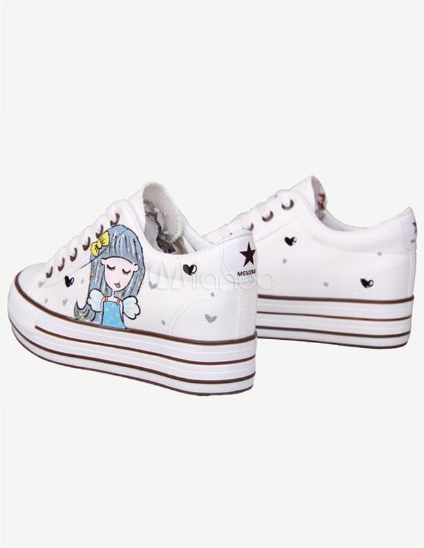 Zapatos blancos de lona con estampado 7H6oKgkXC