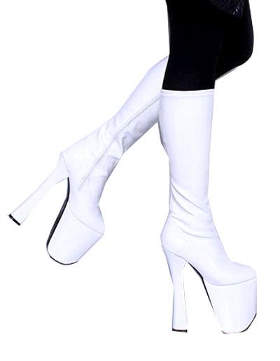 exuberante en diseño oficial de ventas calientes En liquidación Botas blancas con plataforma de tacón alto