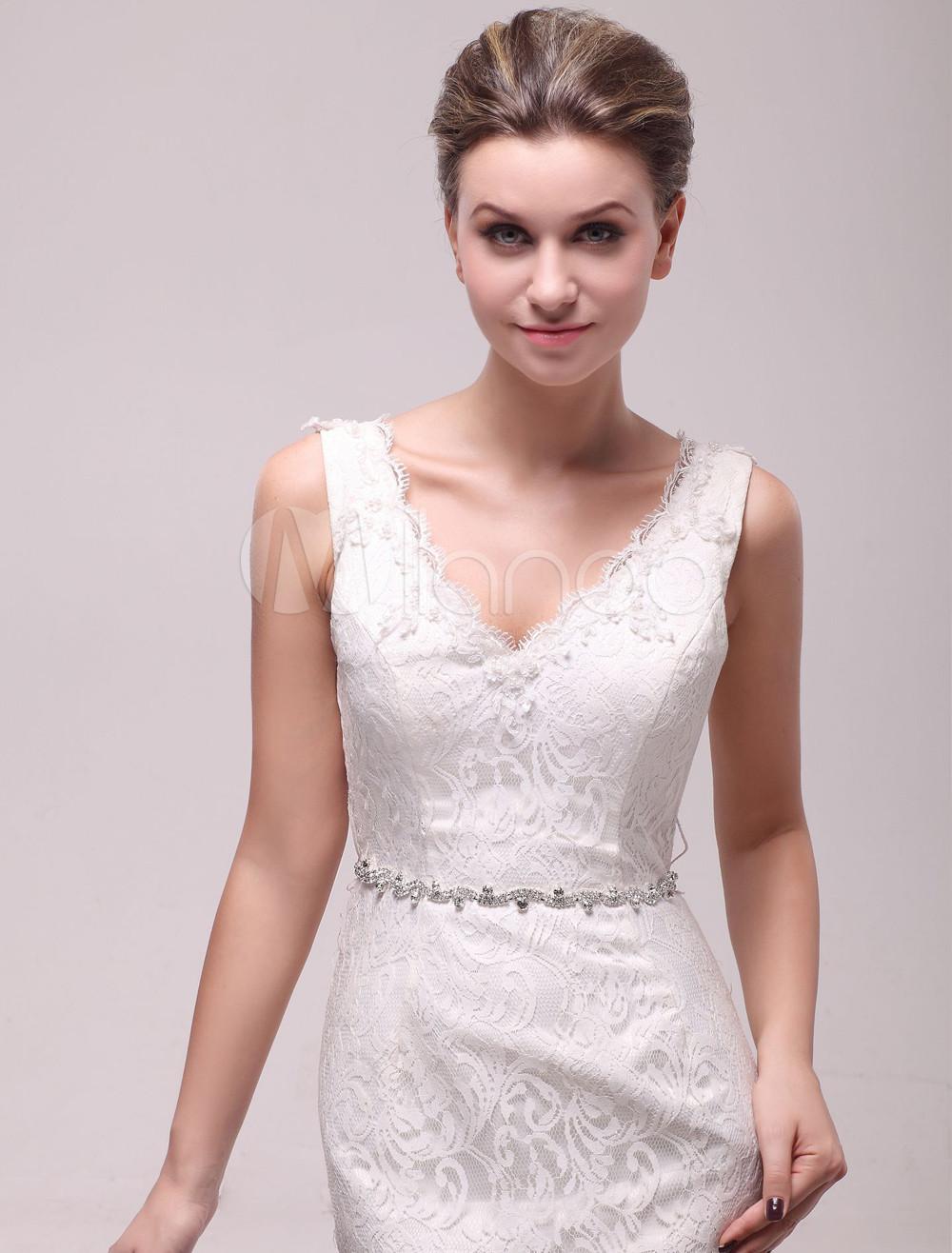 Hochzeitskleid Gürtel mit Kunstdiamanten in Weiß - Milanoo.com