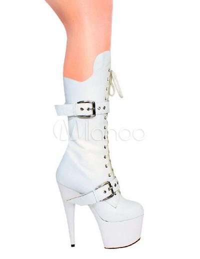 2020 colección completa mejor lugar Botas blancas con hebilla y plataforma de tacón alto de estilo sexy