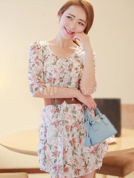 29800deb9 ... Vestido corto de chifón con estampado floral de estilo dulce-No.2 ...