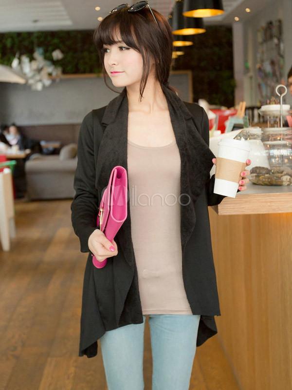 tienda de liquidación 0c927 5e36a Algodón negro asimétrico Cardigan de moda para mujer