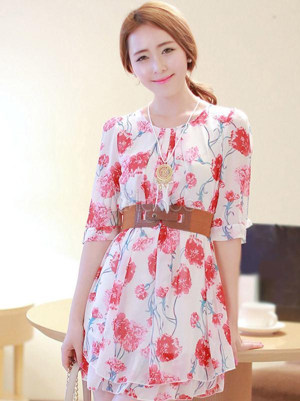 d070fdb305 ... Vestido corto de chifón con estampado floral de estilo dulce-No.5 ...