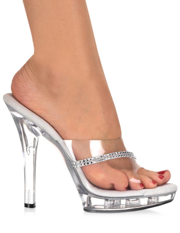 Milanoo / Transparent Rhinestone Peep Toe PVC Upper Sexy Mules For Women