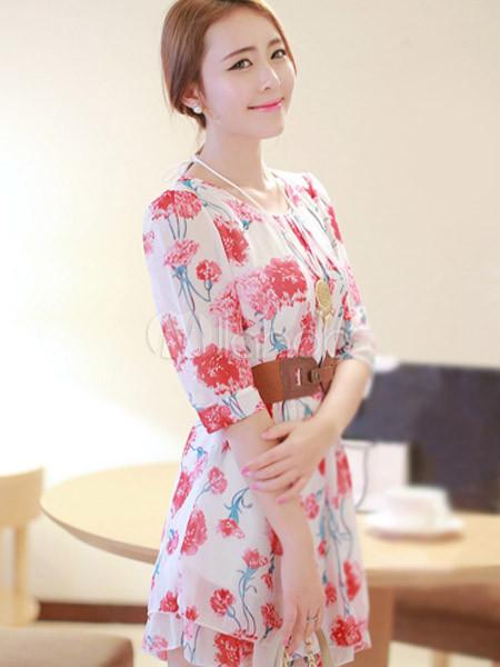 42722510e1 ... Vestido corto de chifón con estampado floral de estilo dulce-No.6 ...