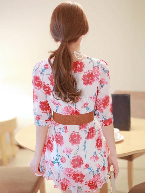 b3b823a220 ... Vestido corto de chifón con estampado floral de estilo dulce-No.7 ...