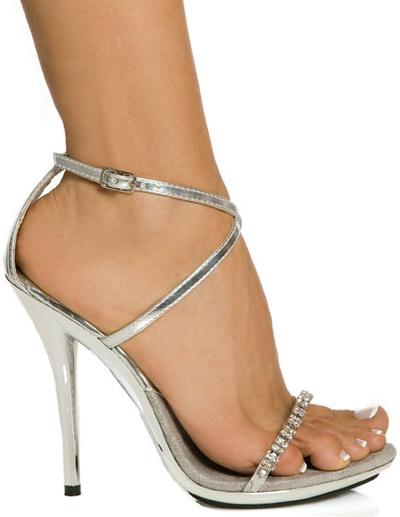 Sandales argent sexy à talons aigus en PU verni avec strass -No.1