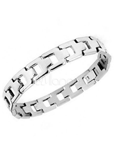 45a23130b016 Caja de plata hebilla acero inoxidable pulsera moderna para hombre-No.1 ...