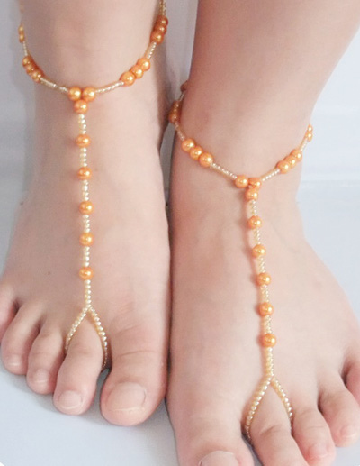 Accesorios Pies Las Sexy Zapatos Mujeres Oro Crochet Descalzos Rebordear De 8ZNXn0kOwP