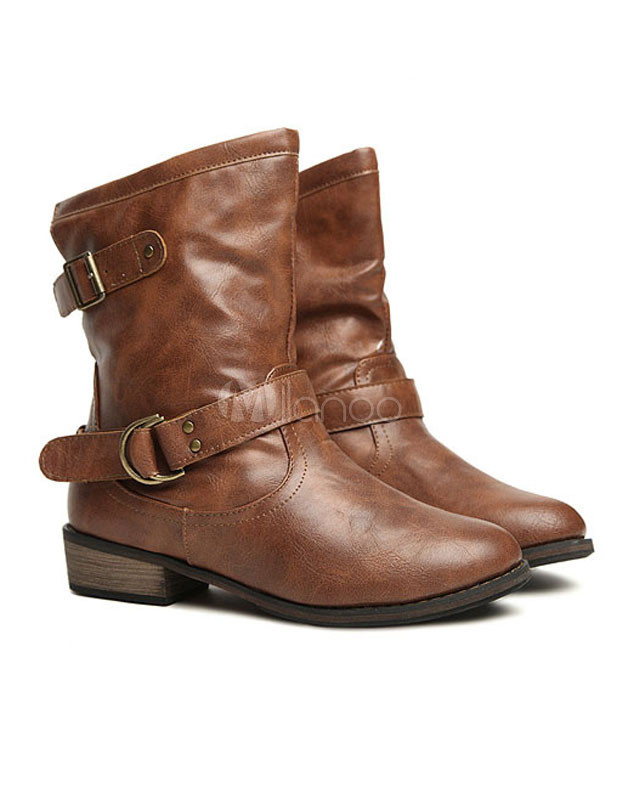 Stylish Brown Round Toe Pu Leather Flat Booties For Women