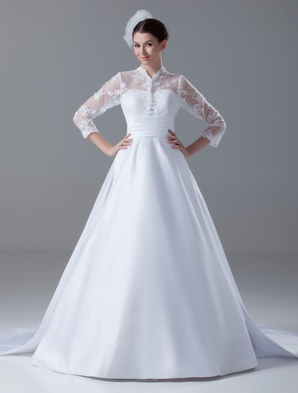 Court Train White Ball Gown Lace Bridal Wedding Gown with High Collar
