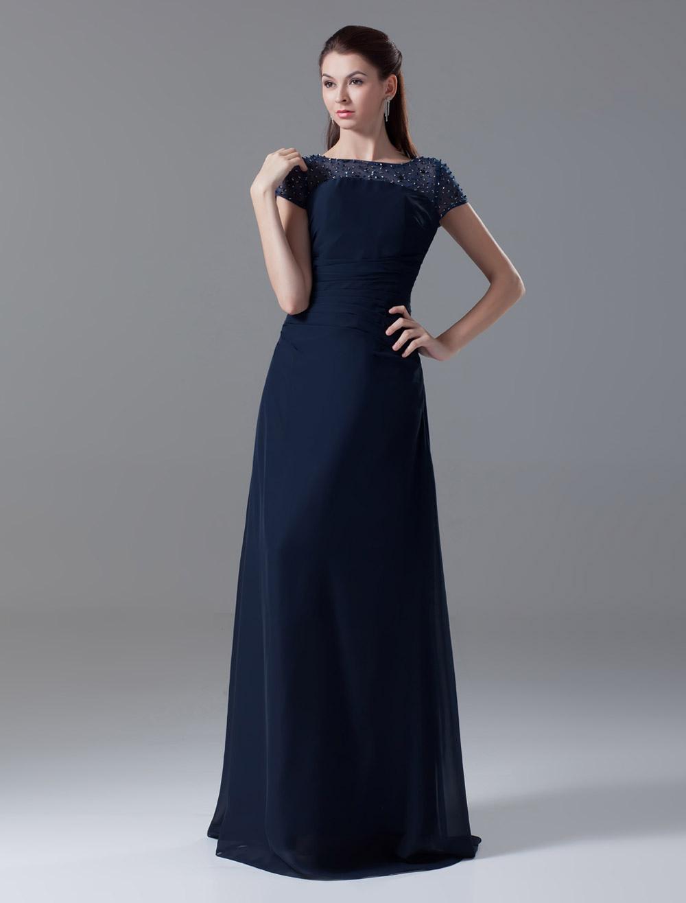 Floor-Length Dark Navy Chiffon Beading Evening Dress