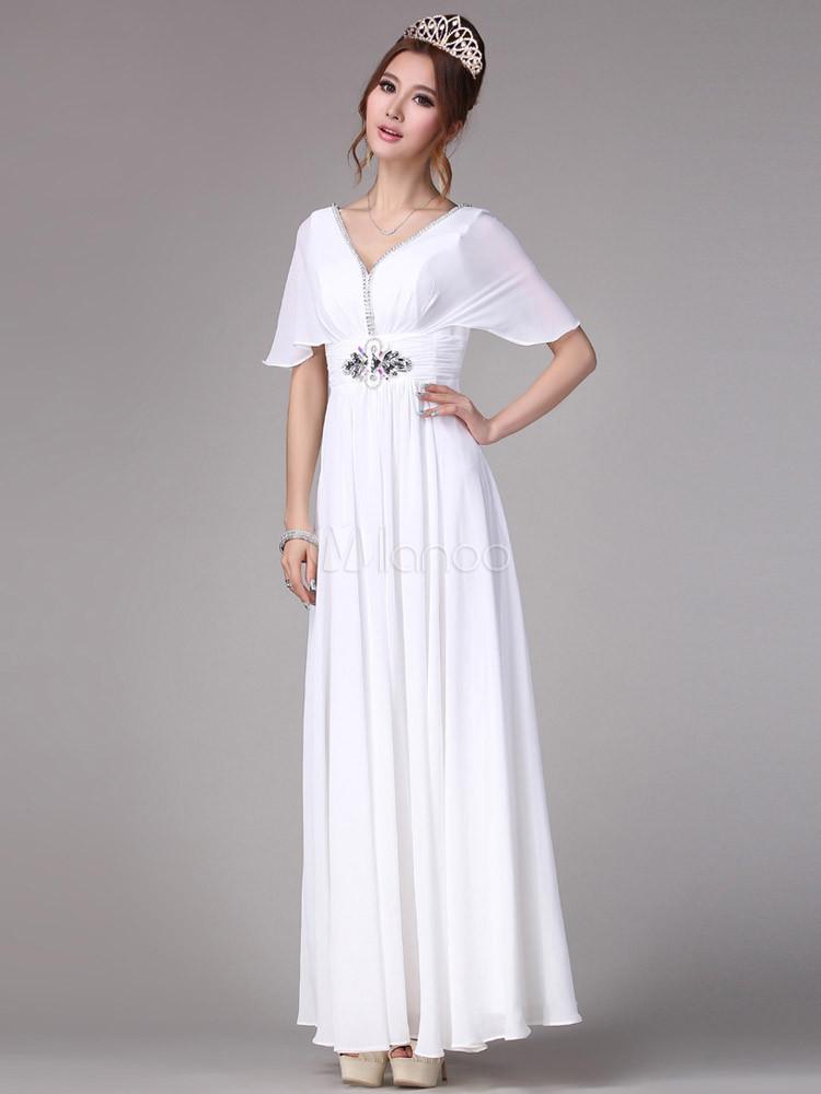 2f660e65d6c Charmante robe maxi blanche avec col V et strass manches chauve-souris-No.