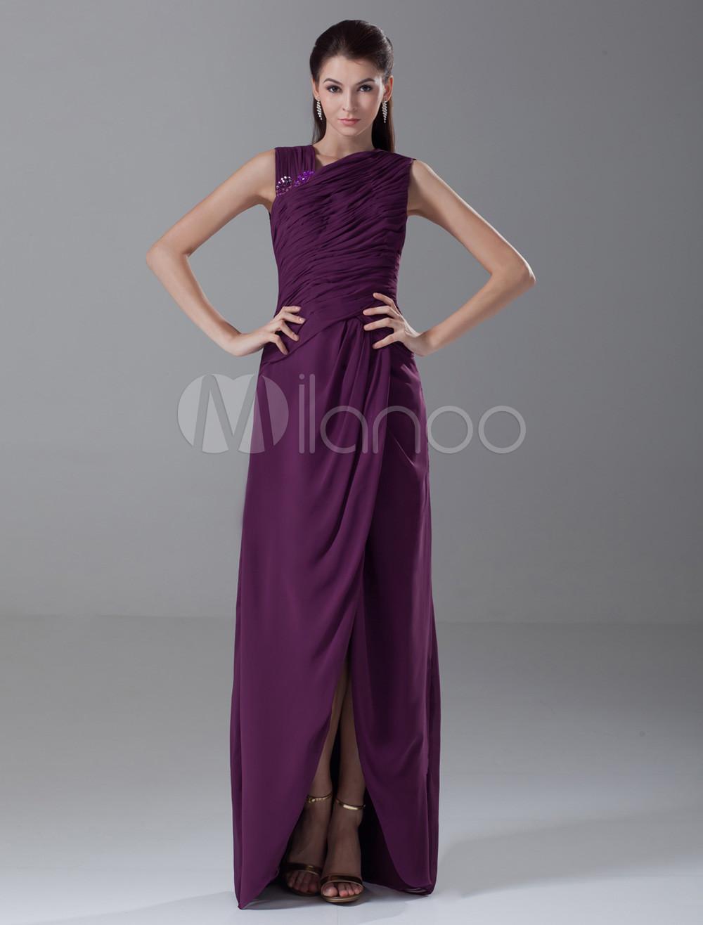 Vestido de damas de honor de gasa de color de uva con cuello en V ...