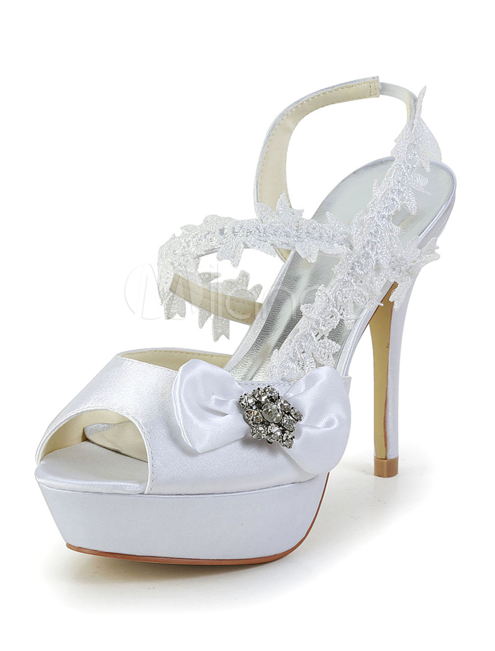 Buy Beautiful White Silk And Satin Peep Toe Bow Rhinestone Evening and Bridal Platforms for $59.84 in Milanoo store