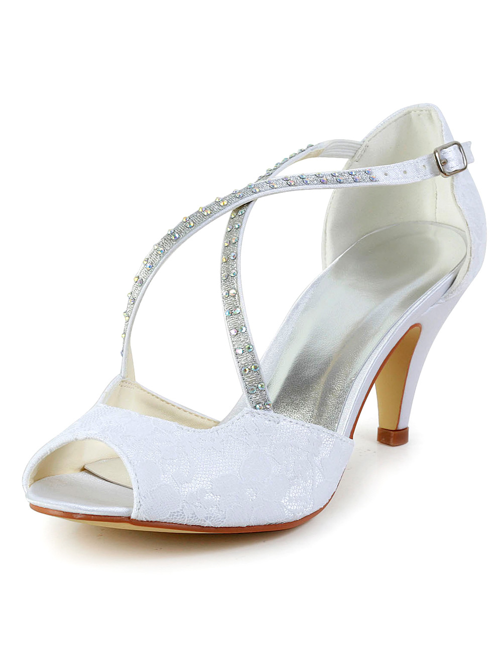 Buy White Rhinestone Peep Toe Silk And Satin Sparkling Evening and Bridal Sandals for $52.24 in Milanoo store