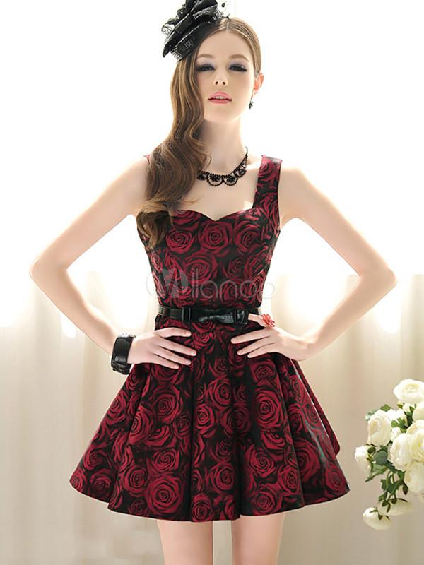bc0d703bbc1b Fiori Bordeaux attraente Sweetheart collo Skater abito femminile -No.1 ...