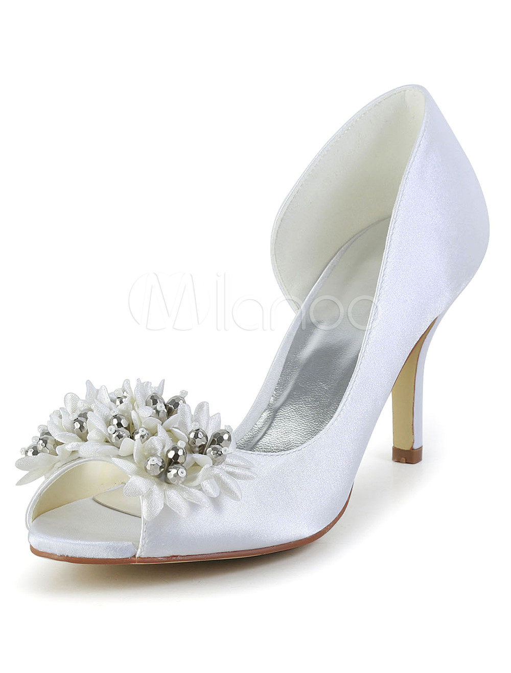 Buy Elegant White Beading Peep Toe Silk And Satin Evening and Bridal Sandals for $52.24 in Milanoo store