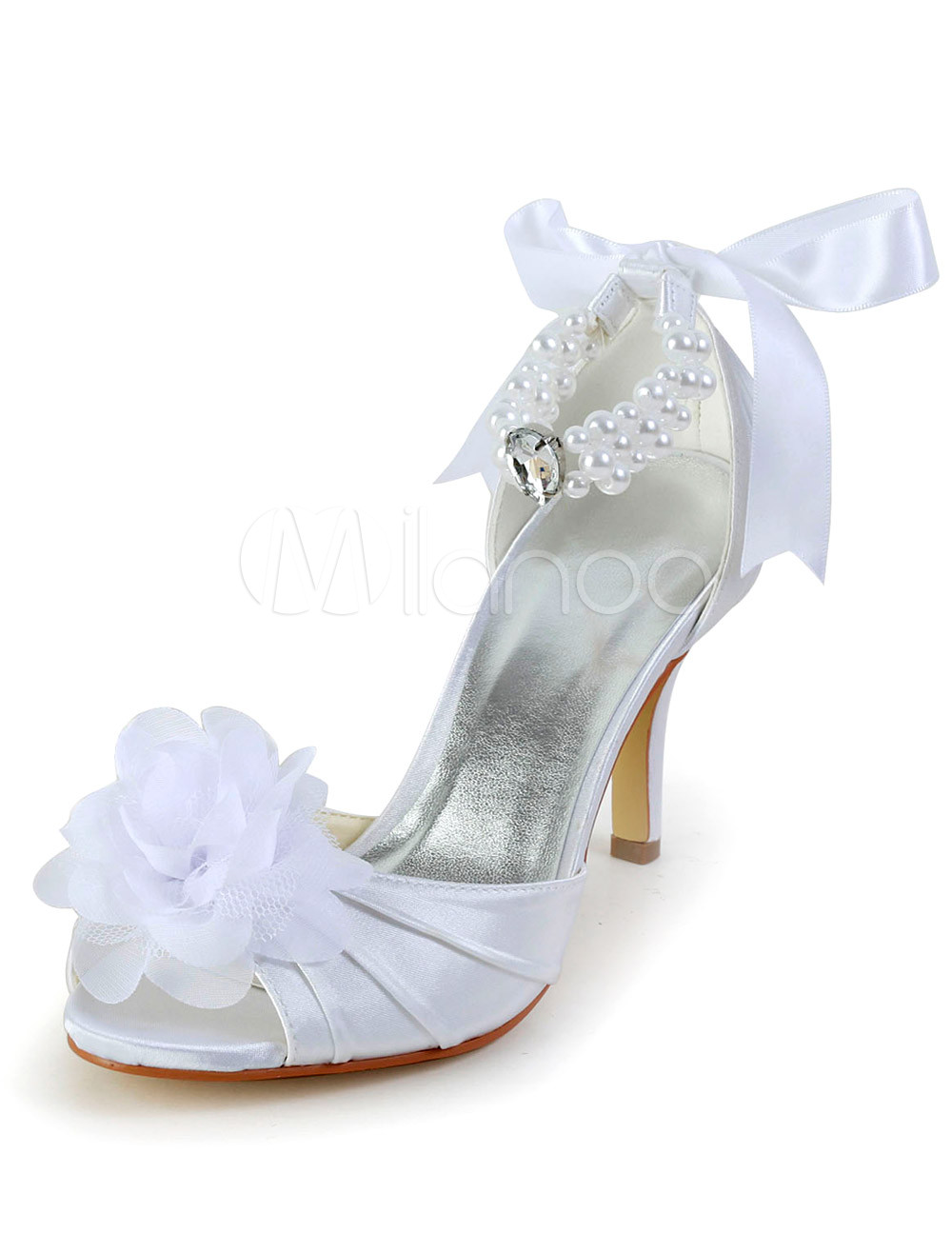 Buy Elegant White Beading Peep Toe Silk And Satin Evening and Bride's Sandals for $60.29 in Milanoo store