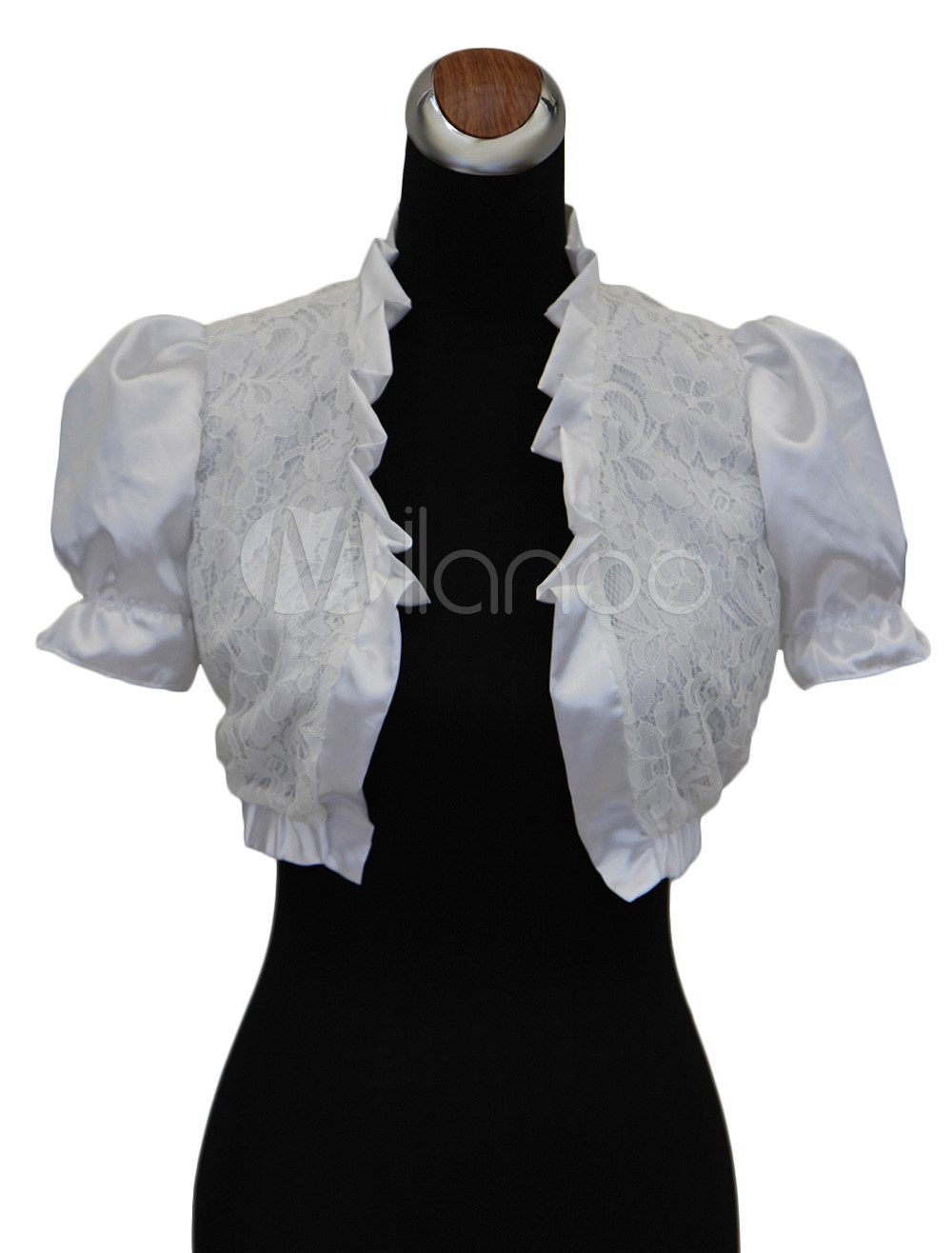 Buy White Short Puff Sleeves Bridal Wedding Shawl for $25.19 in Milanoo store