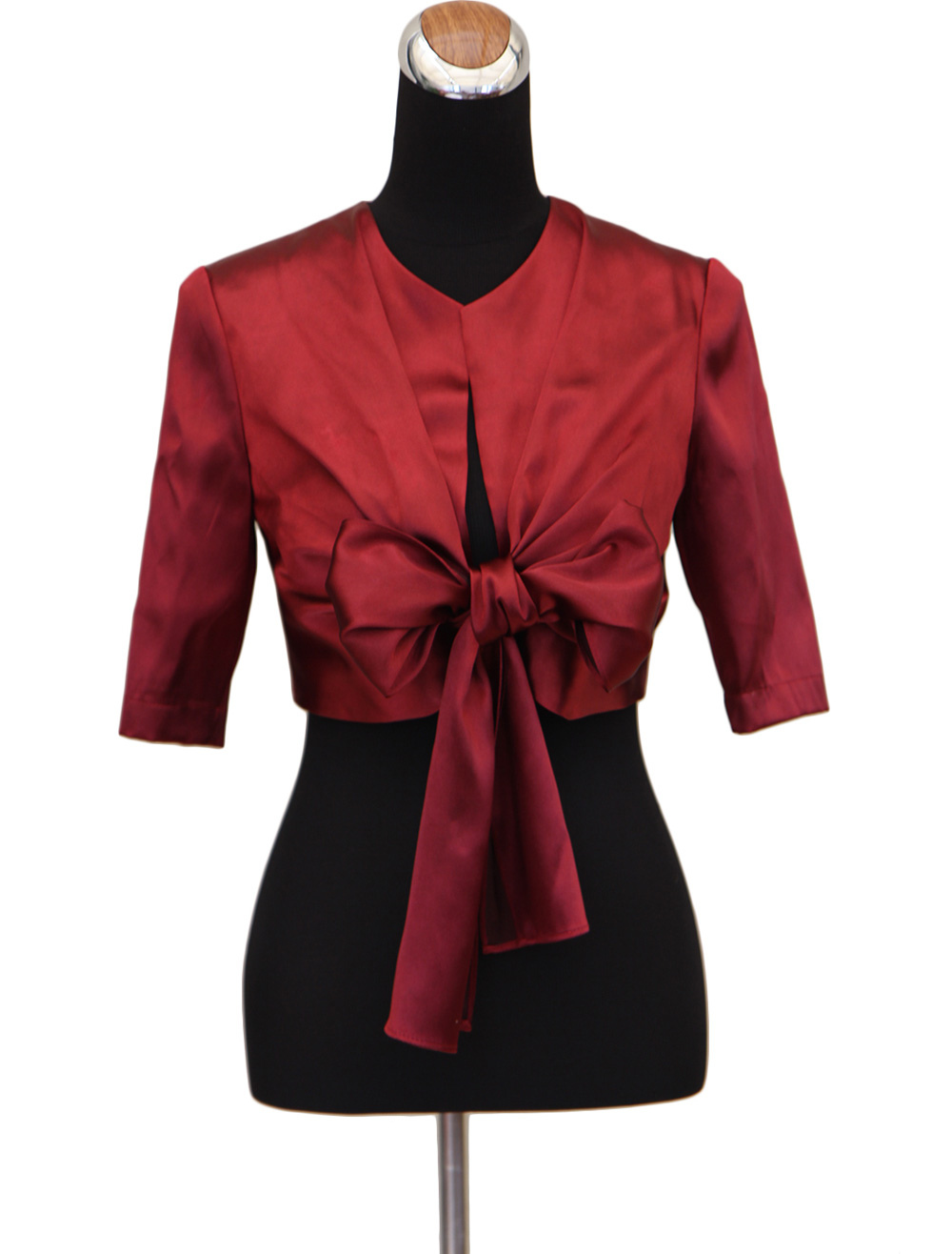 Buy Red Bow Half T-shirt Sleeves Matte Satin Wedding Shawl For Bride for $25.19 in Milanoo store