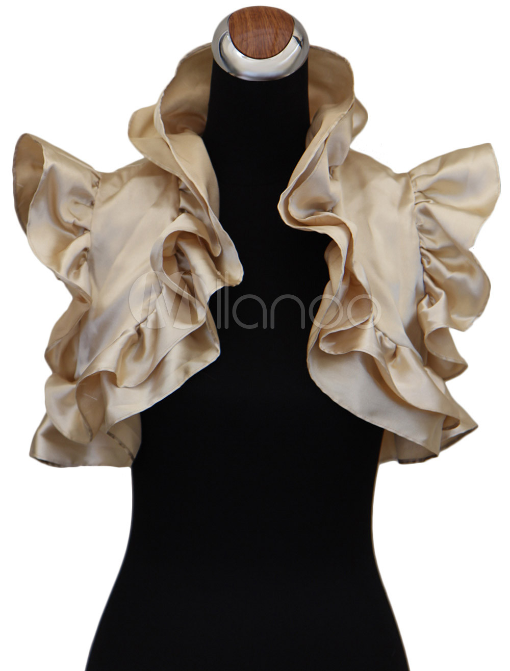 Petal Sleeves Matte Satin Bridal Wedding Shawl with Ruffles