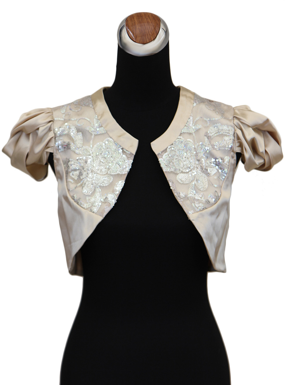 Champagne Sequin Short Cap Sleeves Wedding Shawl For Bride