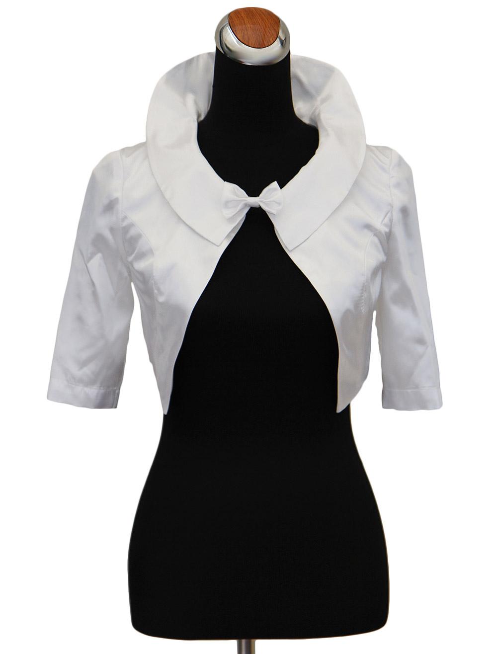 White 3/4 Length Bell Sleeves Matte Satin Bridal Wedding Shawl