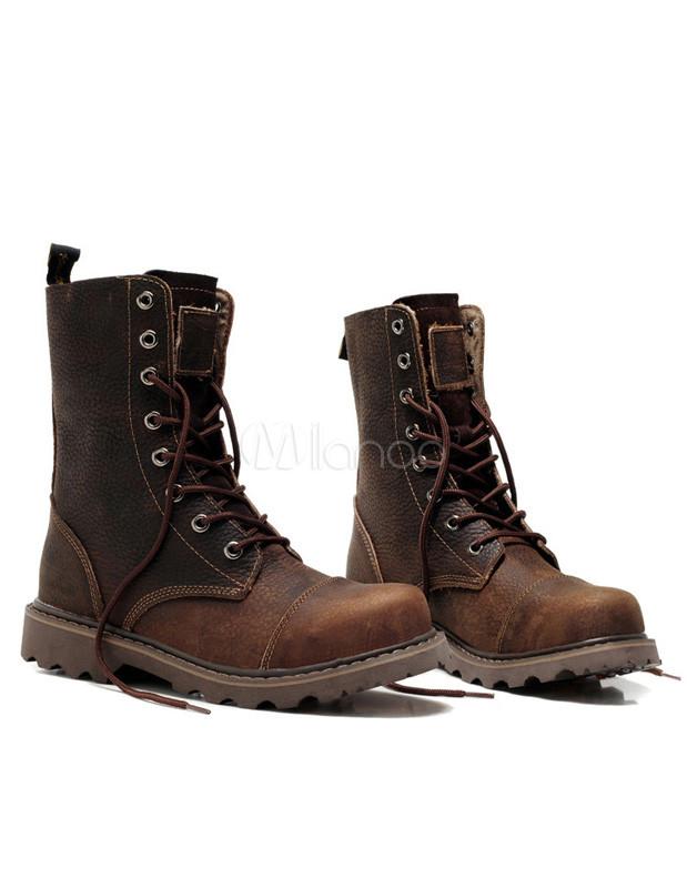 Cuero marrón oscuro ronda botas de punta de modernos para hombres