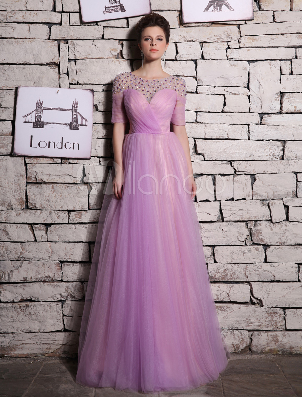 A-line Lilac Tulle Beading Jewel Neck Floor-Length Evening Dress Milanoo