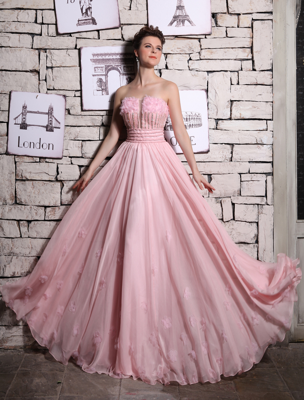 Pink Strapless  Chiffon Evening Dress Milanoo