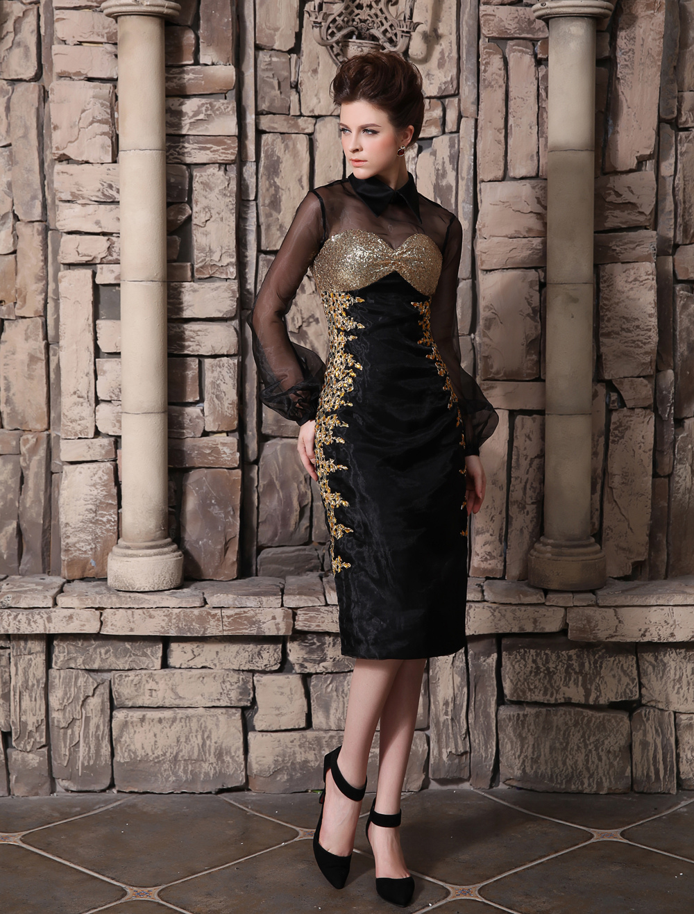 Buy Black Beading Cowl Neck Long Sleeves Sheath Organza Cocktail Dress Wedding Guest Dress Milanoo for $141.29 in Milanoo store