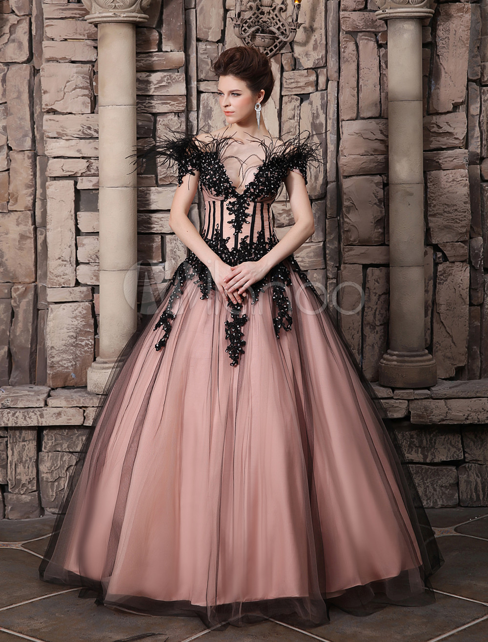Blush Pink Evening Dress Ball Gown Off The Shoulder Quinceanera Dress Feather Lace Applique Party Dress   Milanoo