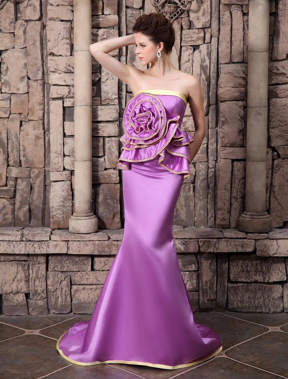Mermaid Evening Dress Fuchsia Pink Satin Mother's Dress Strapless Court Train Beading Party Dress  Milanoo